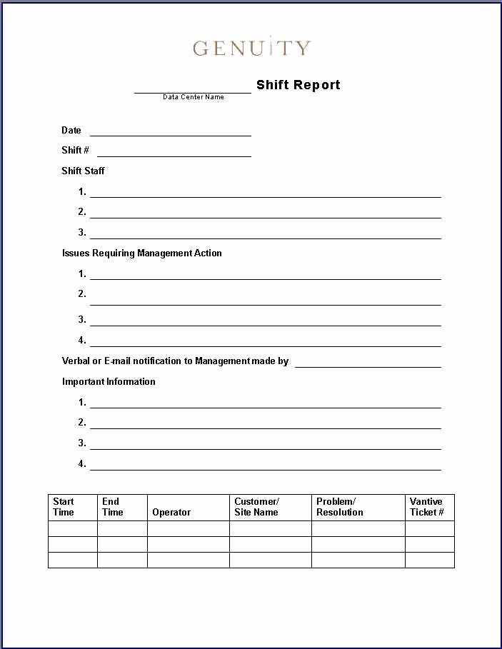 End Of Shift Report Template 9 Advantages End Shift