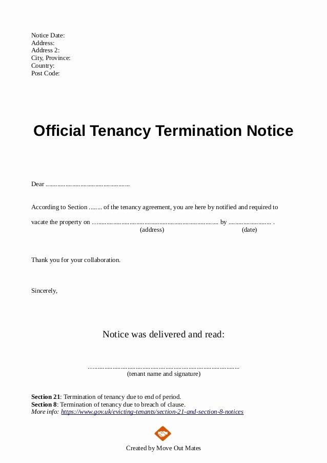 End Of Tenancy Letter Template From Landlord to Tenant