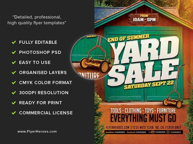 End Summer Yard Sale Flyer Template Flyerheroes