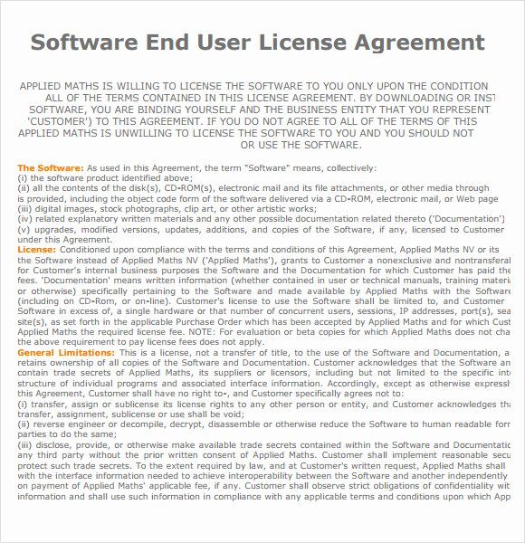 End User License Agreement – 7 Free Samples Examples