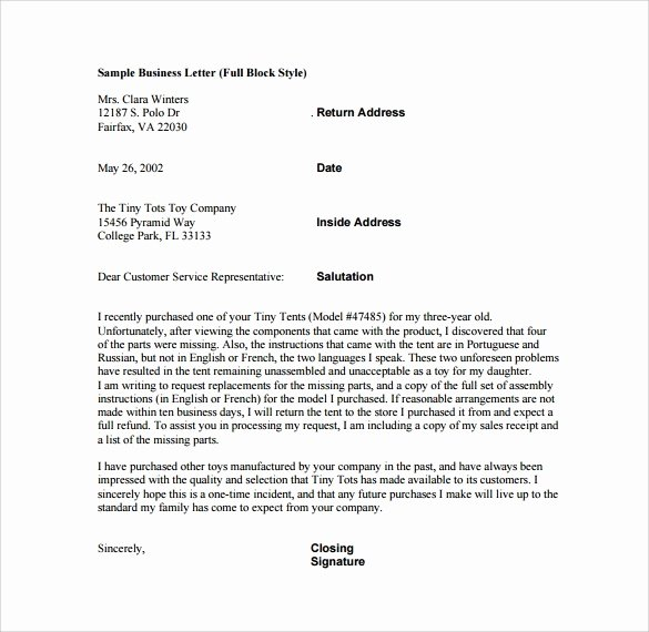 Ending A Business Letter Template