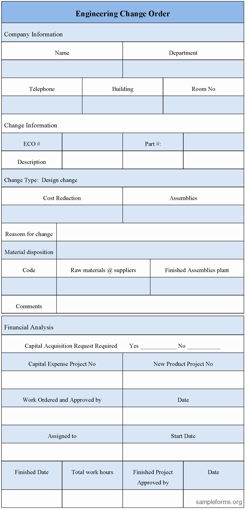 Engineering Change order form Sample forms