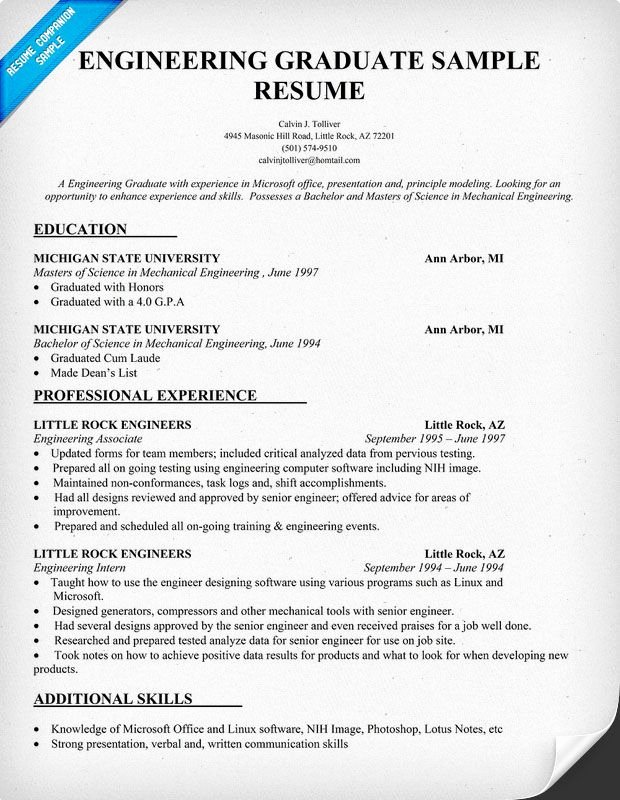 Engineering Graduate Resume Sample Resume Panion