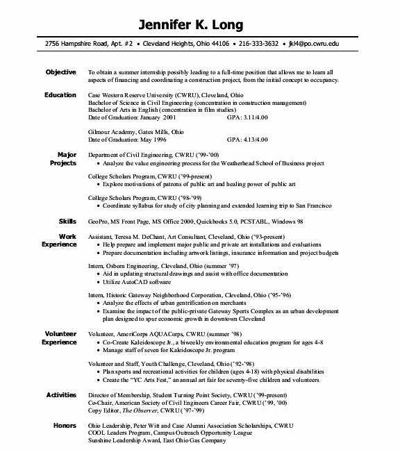 Engineering Internship Resume Examples Free Resume Builder