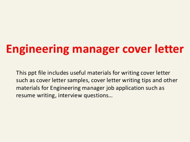 Engineering Manager Cover Letter