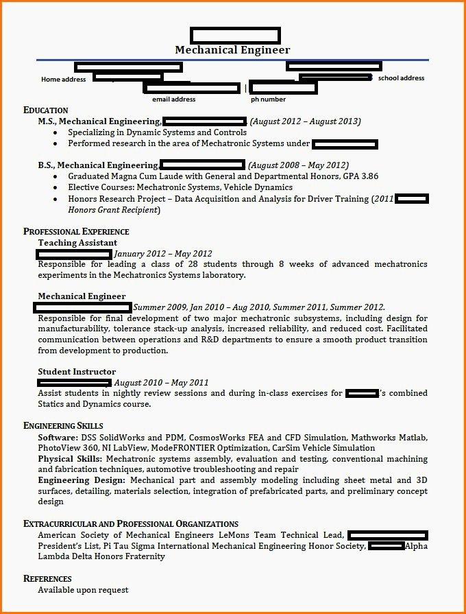 Engineering Mechanical Student Resume