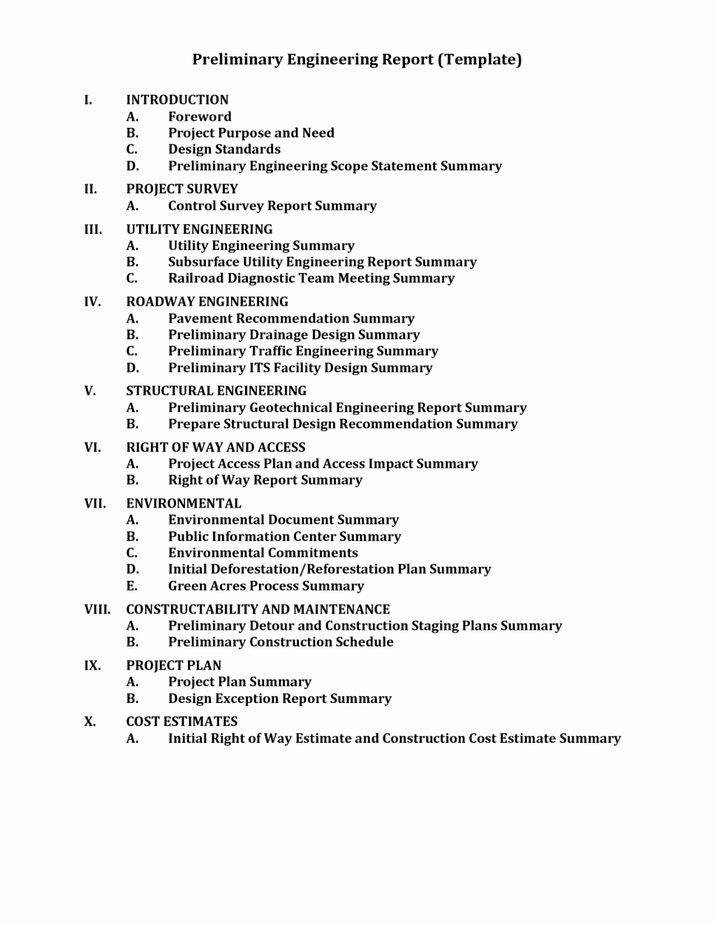 Engineering Report Table Contents Template Pdf
