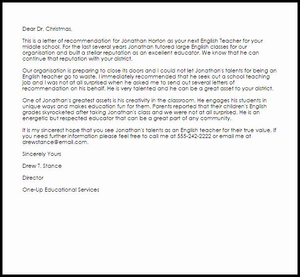 English Teacher Re Mendation Letter Example