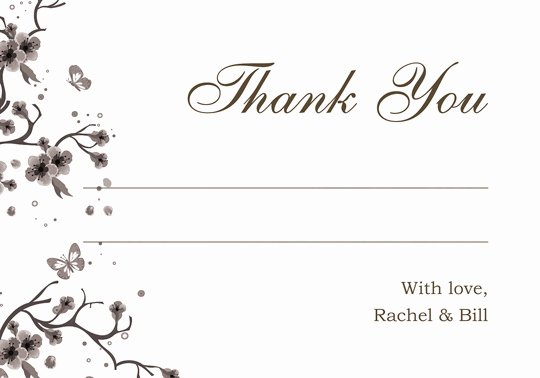 Enjoy Ideas Wedding Thank You Card Template Framed Flower