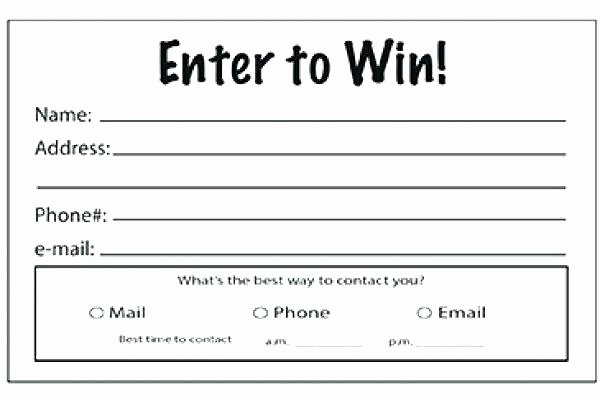 Enter to Win form Template Contest Entry form Template