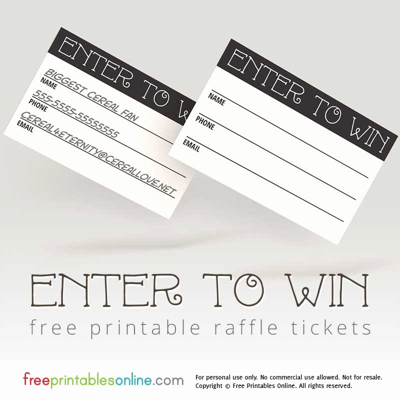 Enter to Win Printable Raffle Tickets