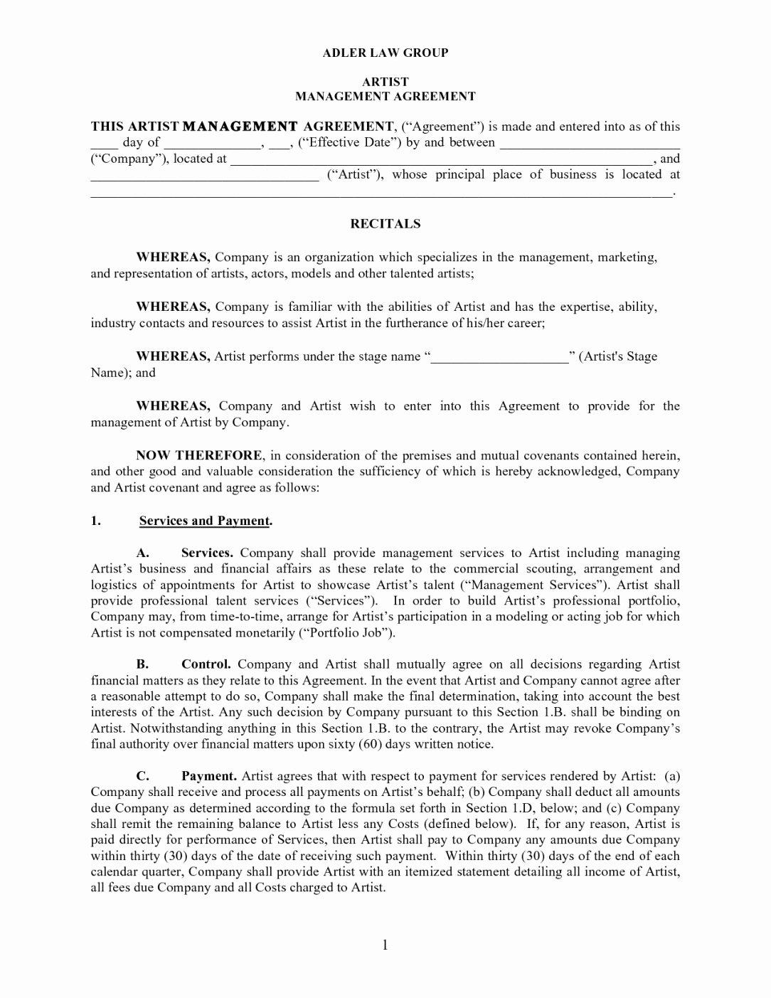 Entertainment Management Agreement Template Talent