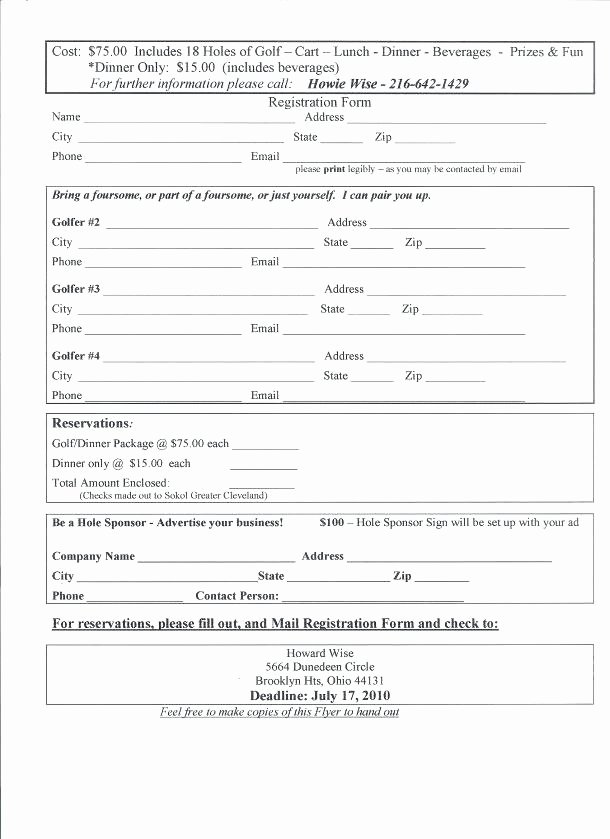 Entry form Template Golf tournament Free event