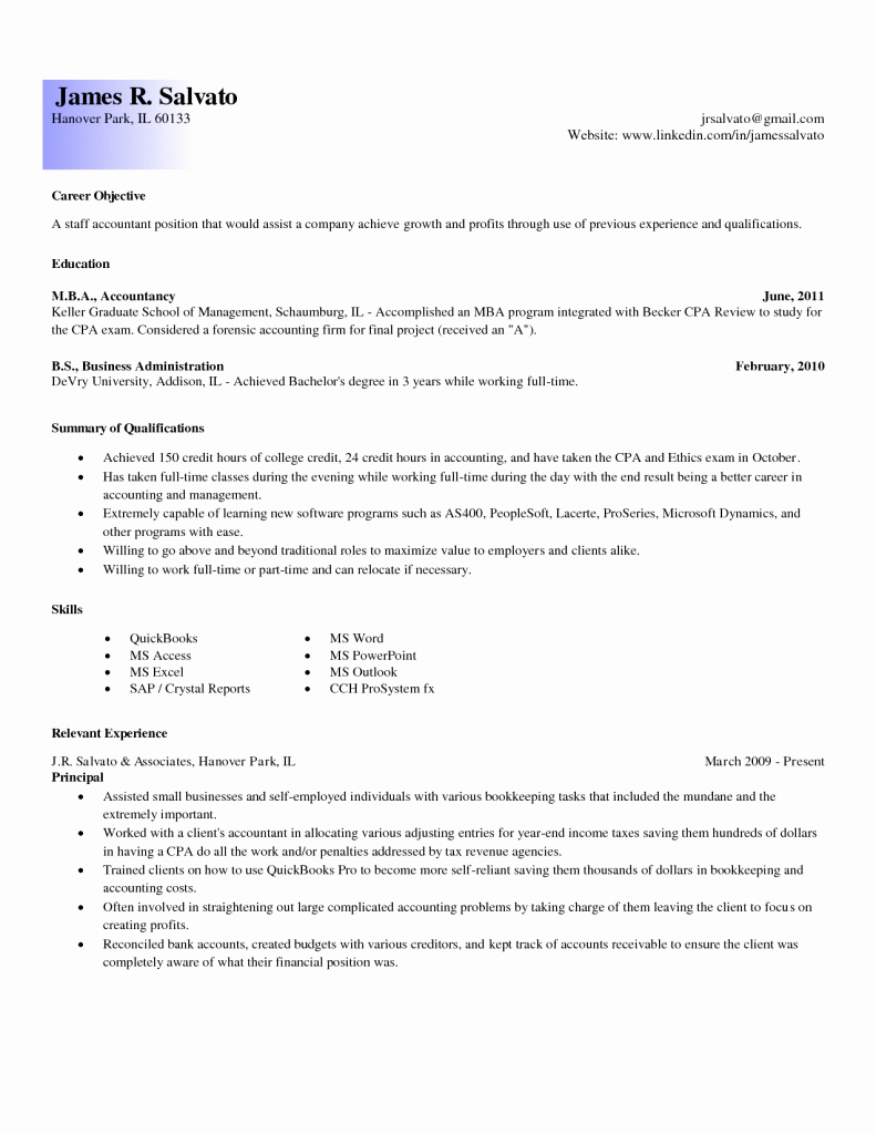 Entry Level Accountant Cover Letter Resume for Accounting