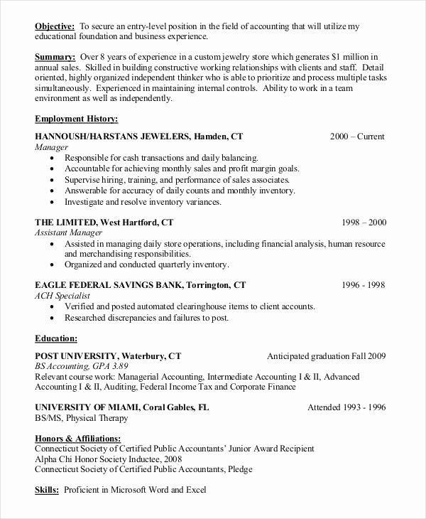 Entry Level Accounting Resume
