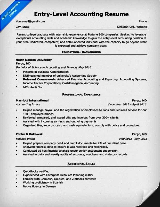 Entry Level Accounting Resume Qualification