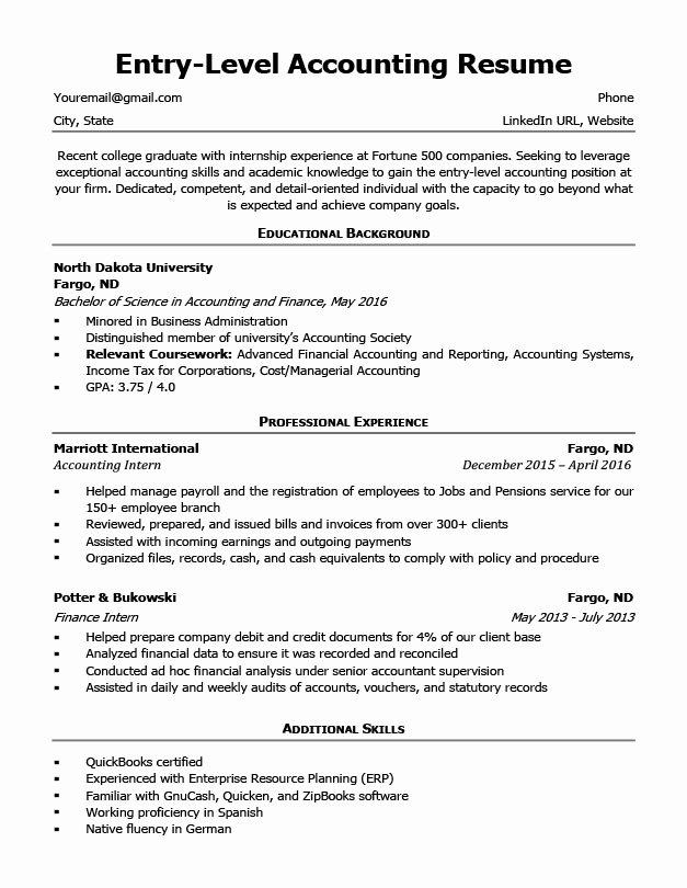 Entry Level Accounting Resume Sample & 4 Writing Tips