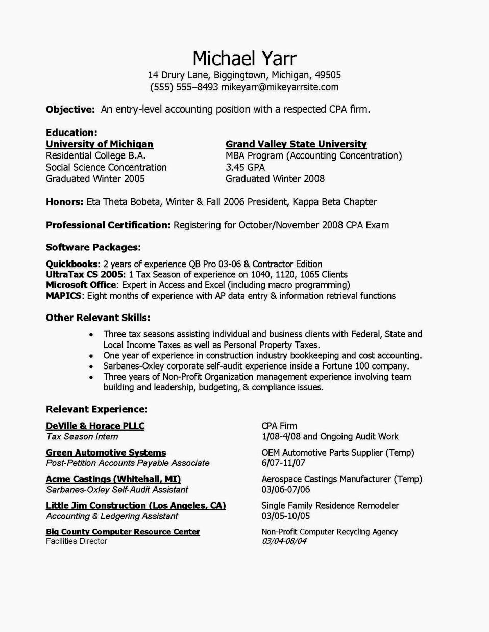 Entry Level Accounting Sample Resume Objectives