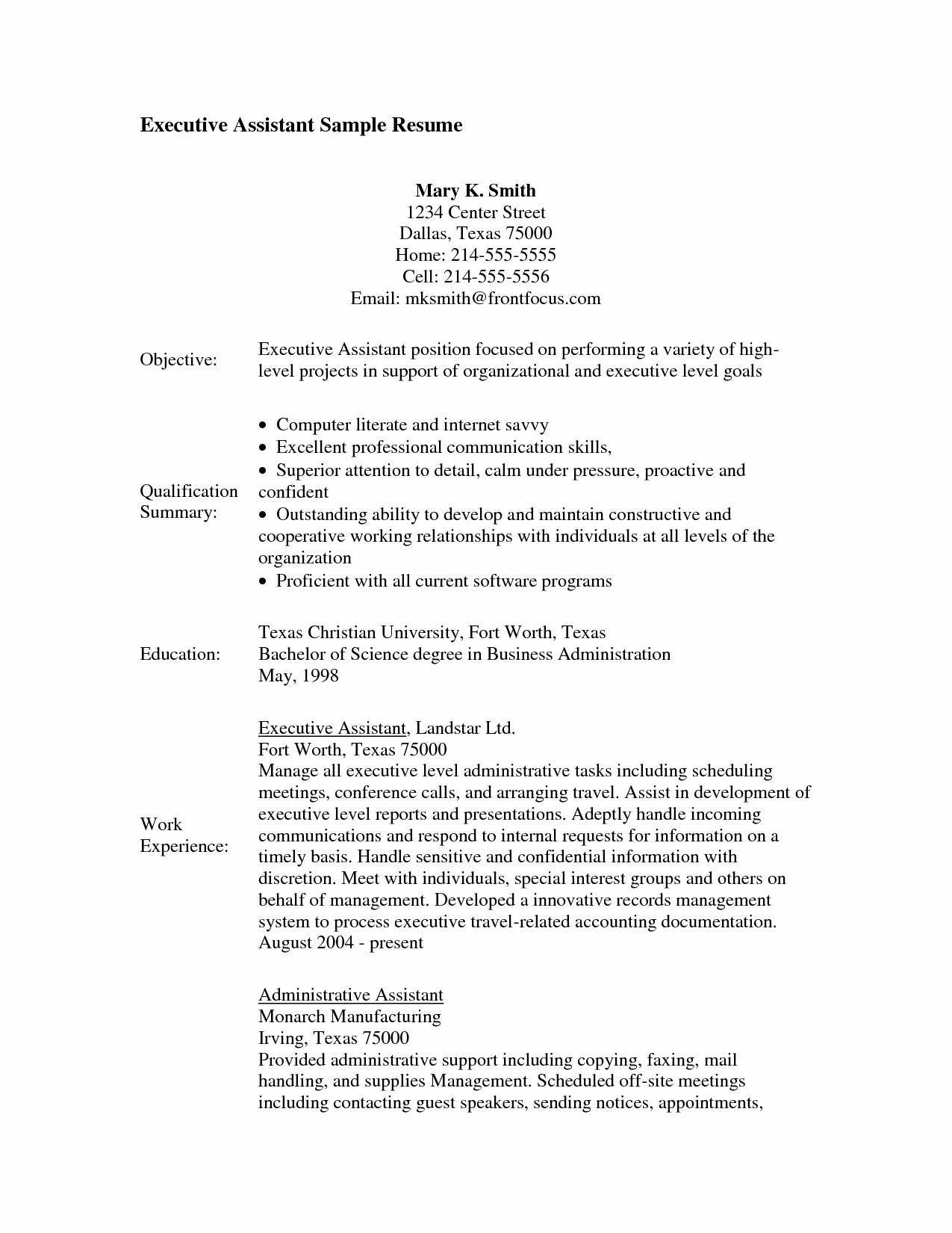 Entry Level Administrative assistant Resume Objective