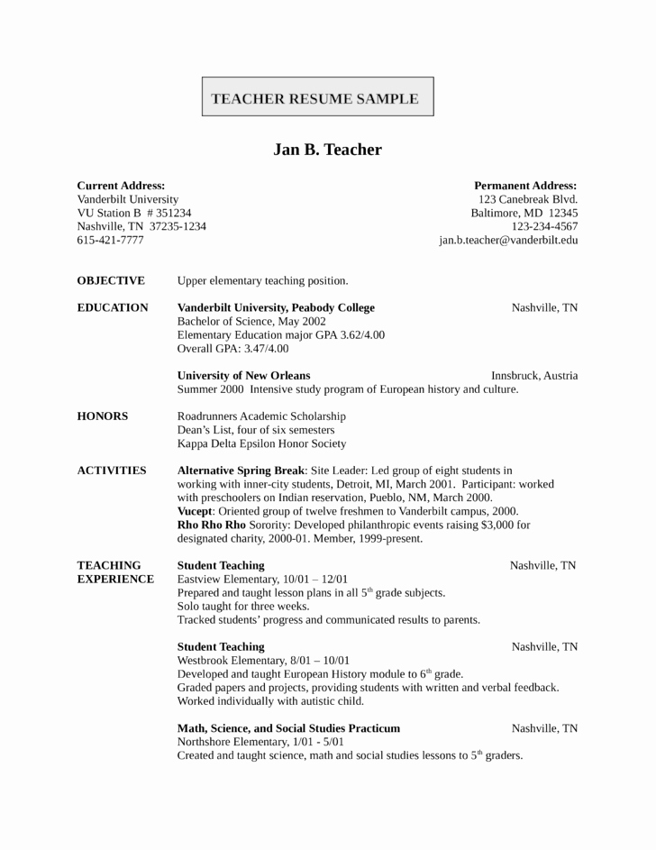 Entry Level & Freshers Teacher Resume Template
