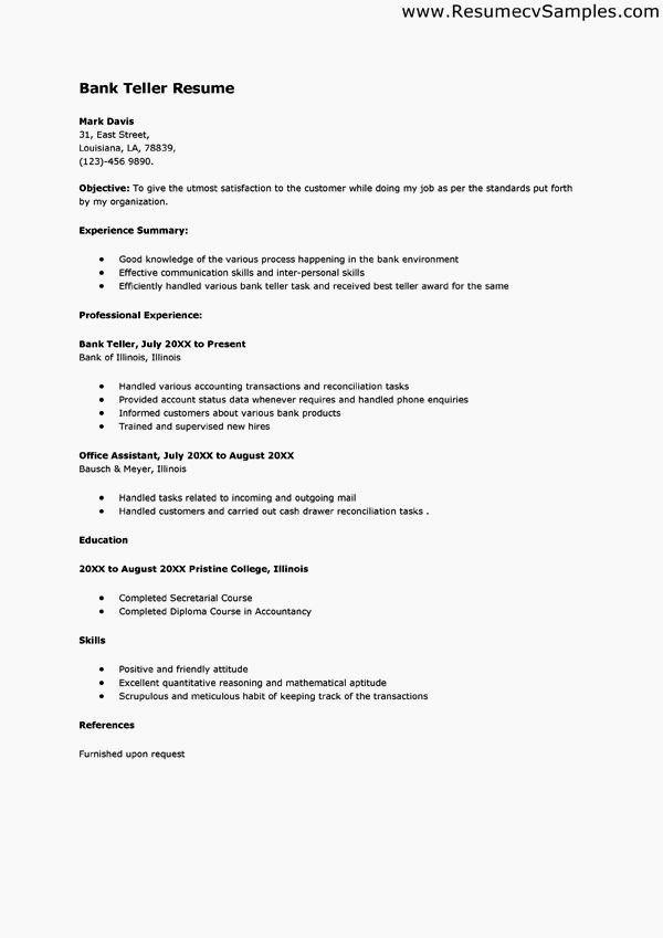 Entry Level Bank Teller Resume Resume Template