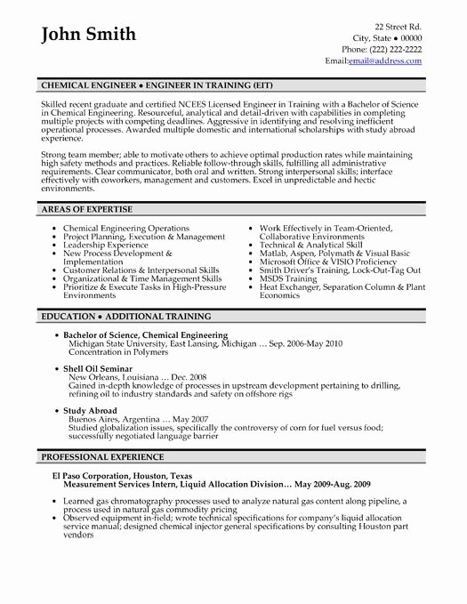 Entry Level Chemical Engineering Resume Best Resume Gallery