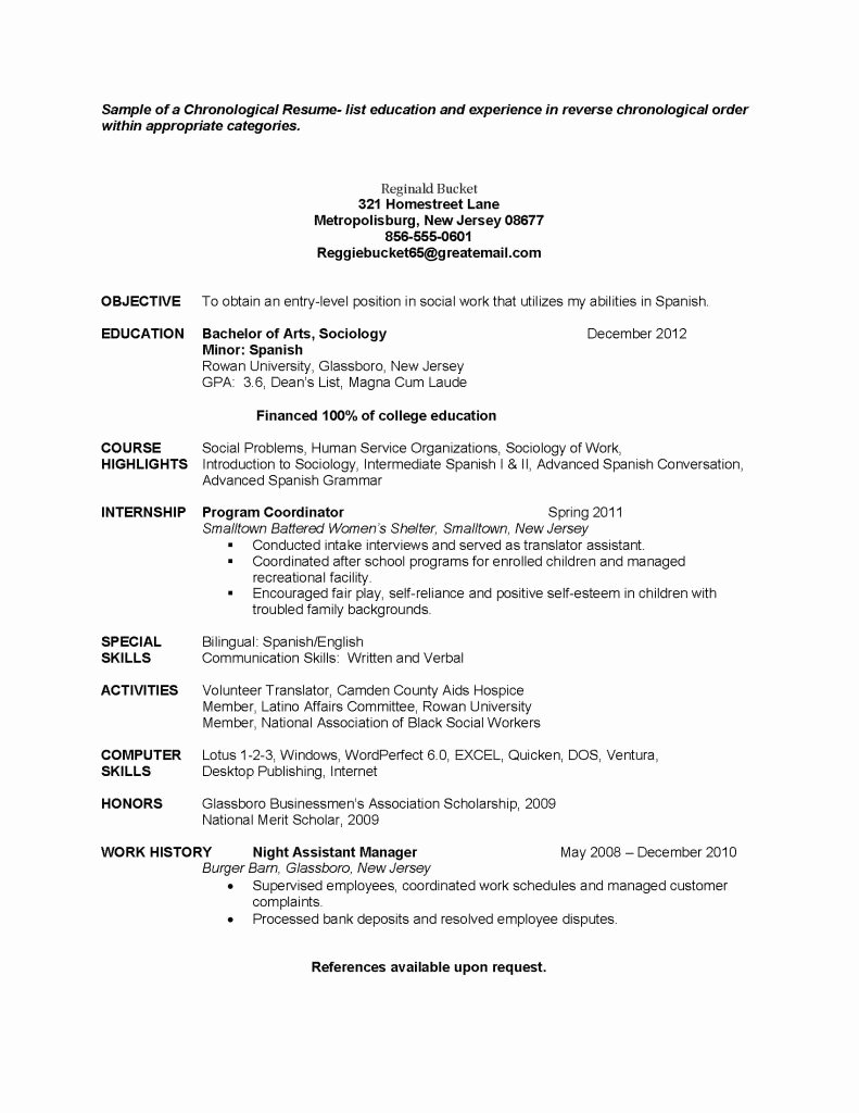 Entry Level Chronological Sample social Work Resume