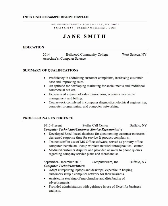 Entry Level College Student Resume Samples