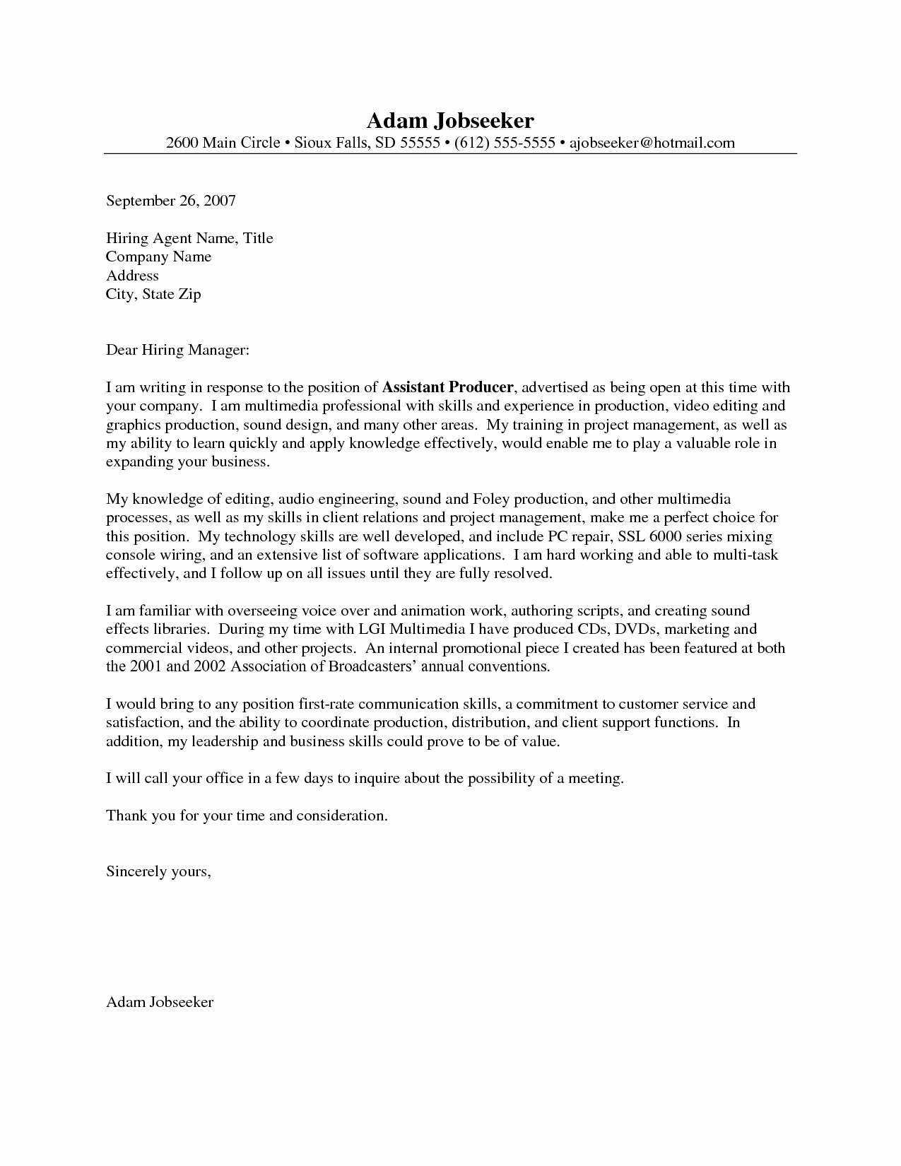 Entry Level Cover Letter Example Job Pinterest