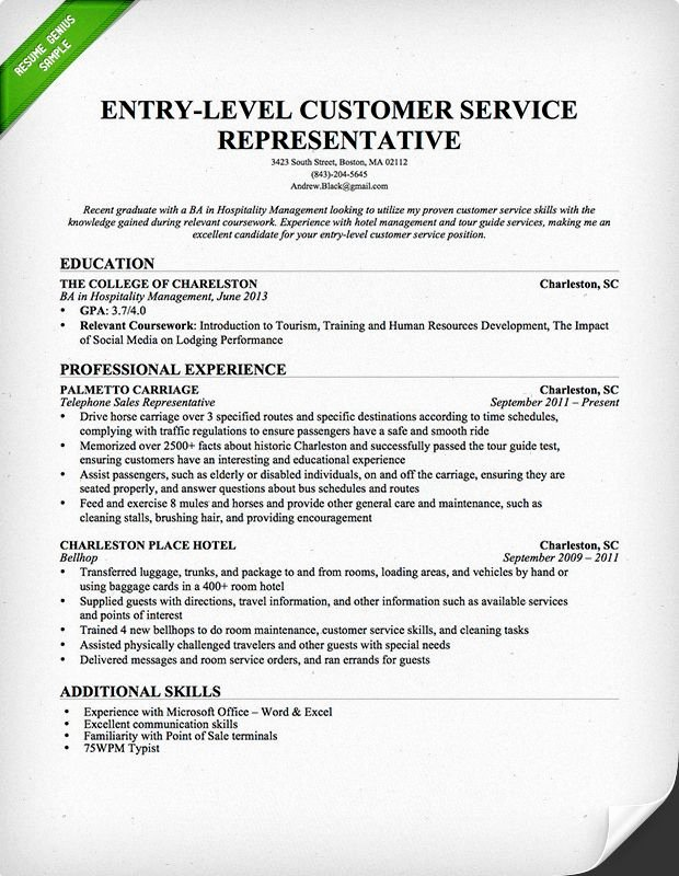 Entry Level Customer Service Representative Resume