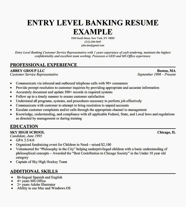 Entry Level Customer Service Resume