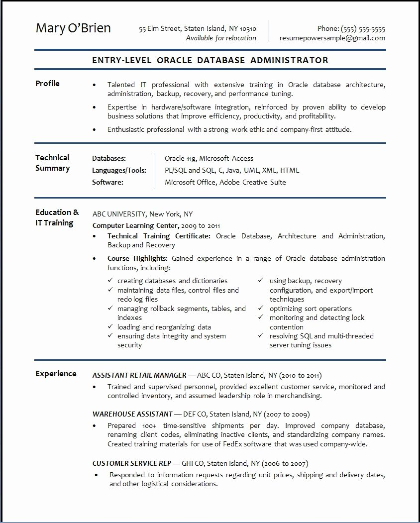 Entry Level Database Administrator Resume Sample
