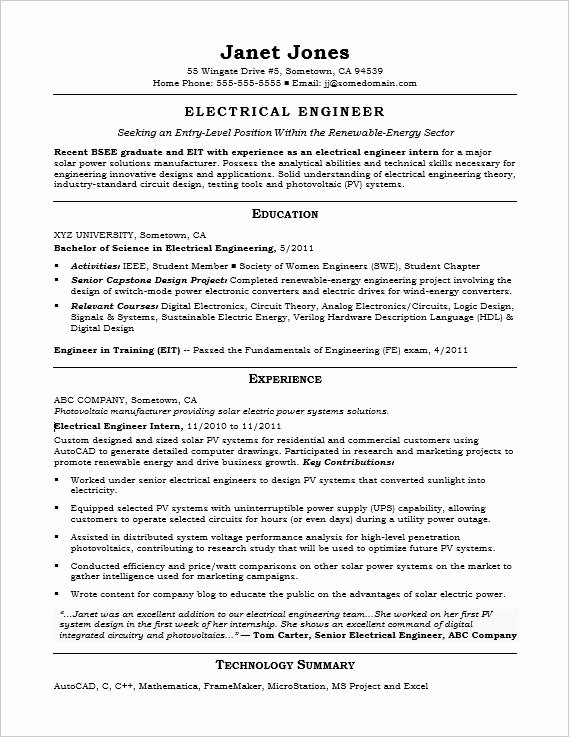 Entry Level Electrical Engineer Sample Resume