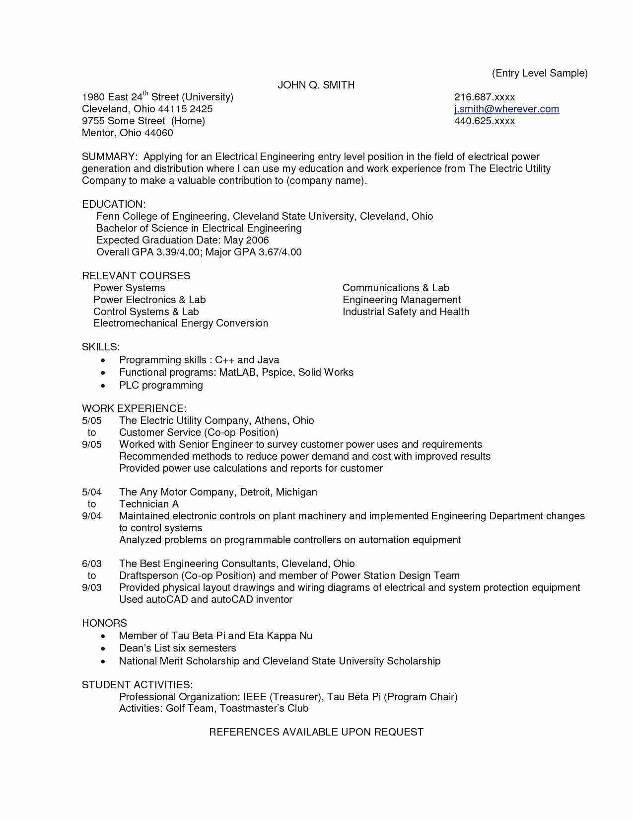 Entry Level Electrical Engineering Cover Letter Manual
