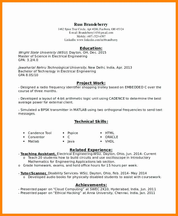 Entry Level Electrical Engineering Resume Entry Level