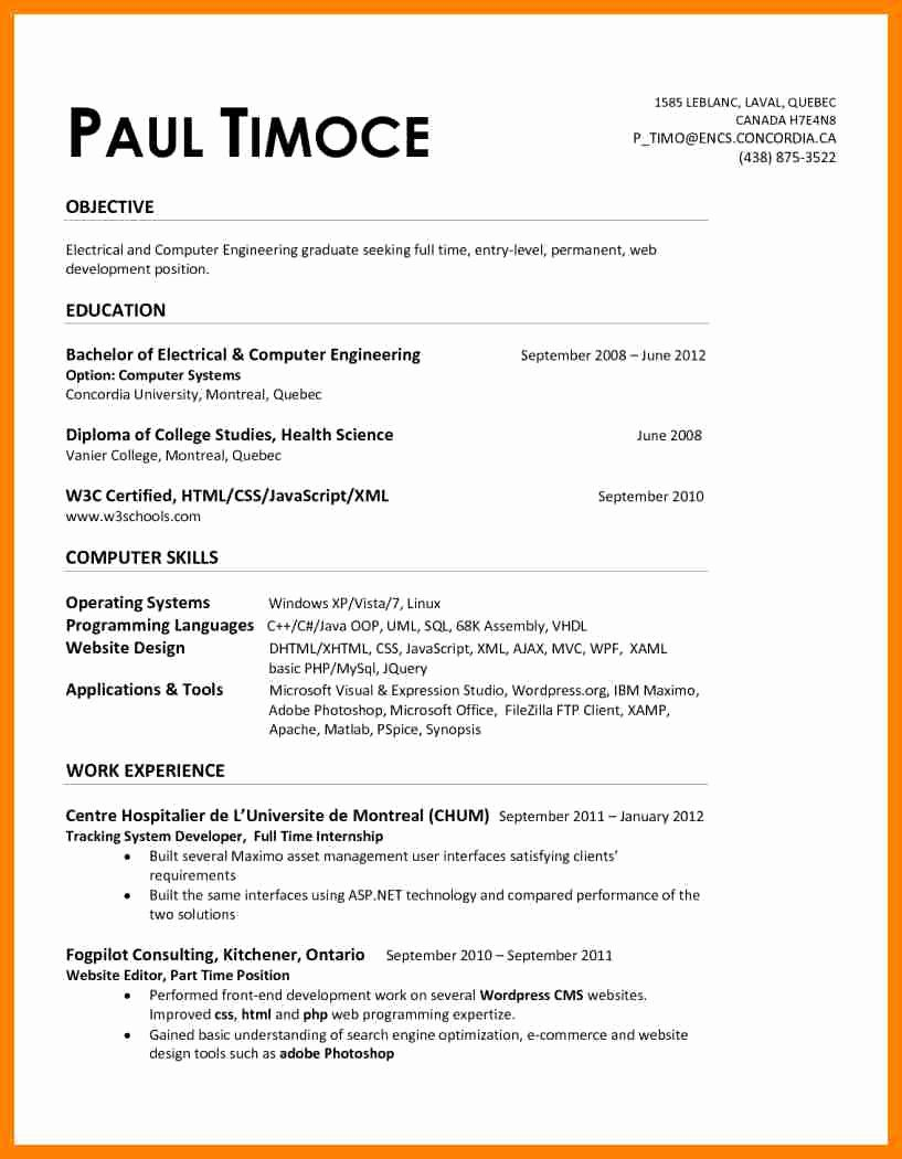 Entry Level Electrical Engineering Resume Filename