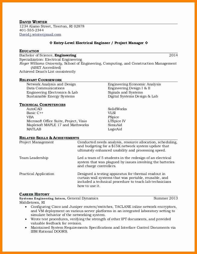 Entry Level Electrical Engineering Resume Talktomartyb