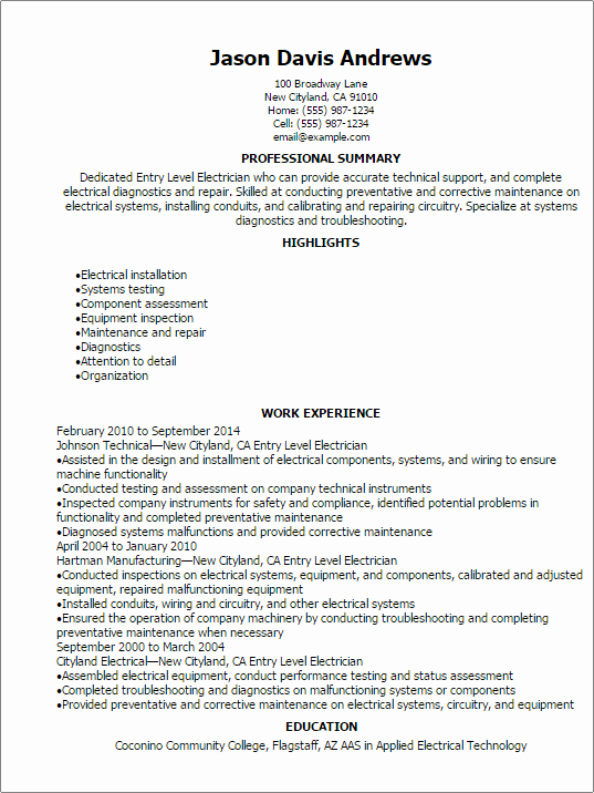 Entry Level Electrician Resume Template — Best Design