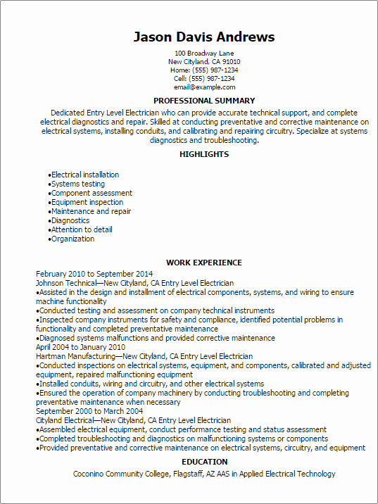 entry level electrician resume