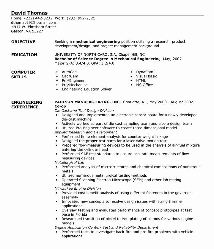 Entry Level Engineering Resume Best Resume Gallery