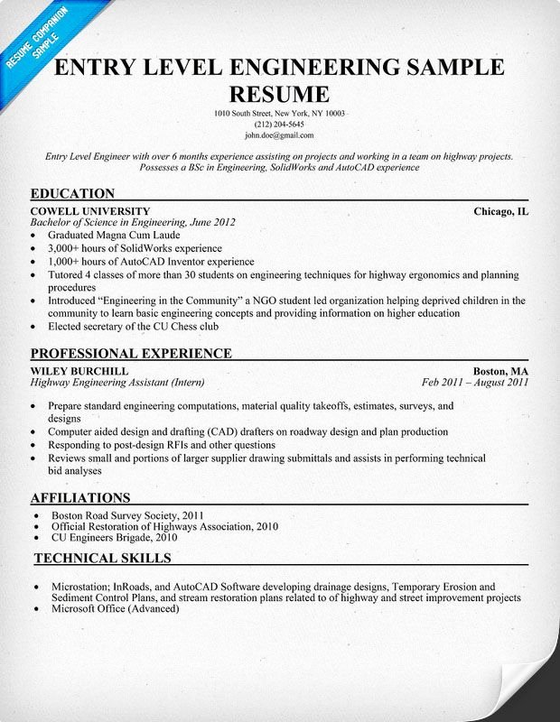Entry Level Engineering Sample Resume Resume Panion
