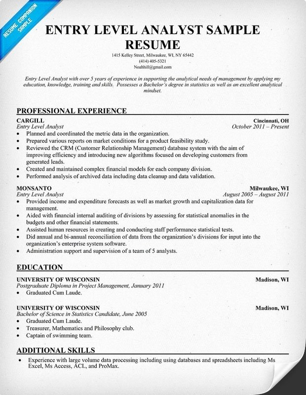 entry level cyber security resume