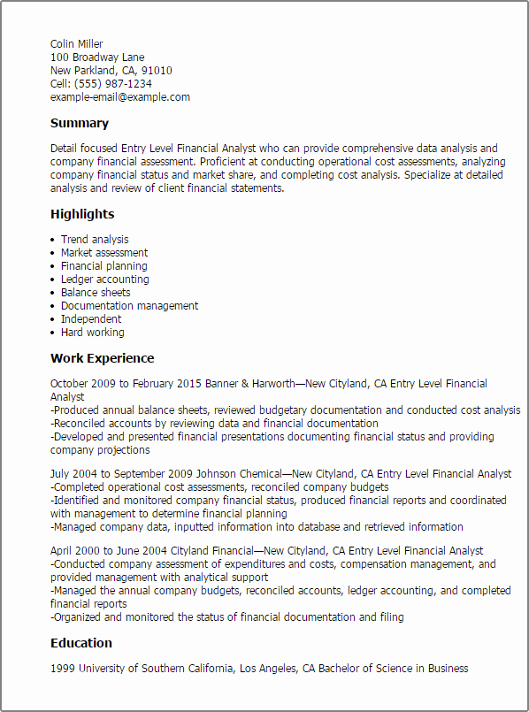 Entry Level Financial Analyst Resume Template — Best
