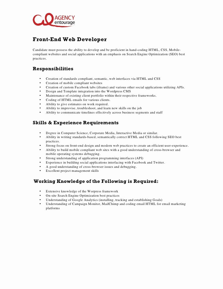 agency entourage job description entrylevel frontend web developer