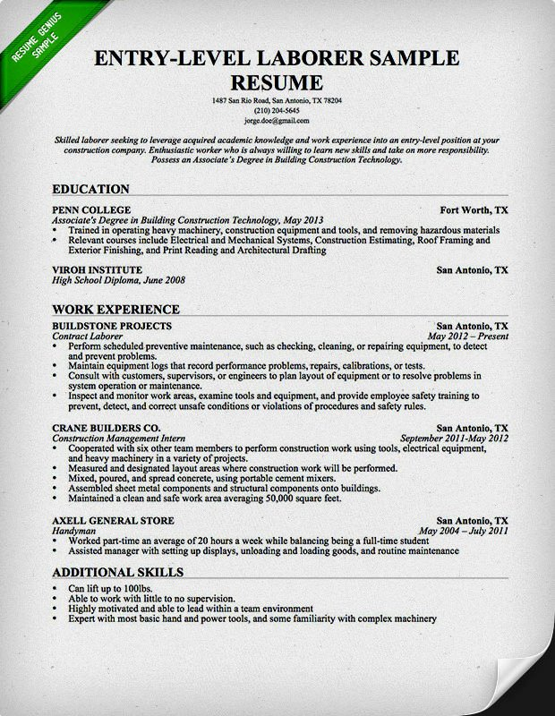Entry Level General Labor Resume Samples