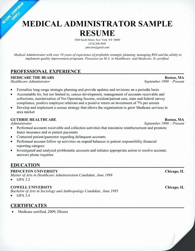 Entry Level Healthcare Administration Resume Examples
