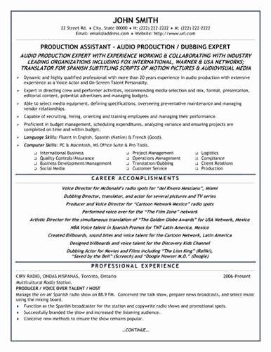 Entry Level Help Desk Resume Sample Production assistant