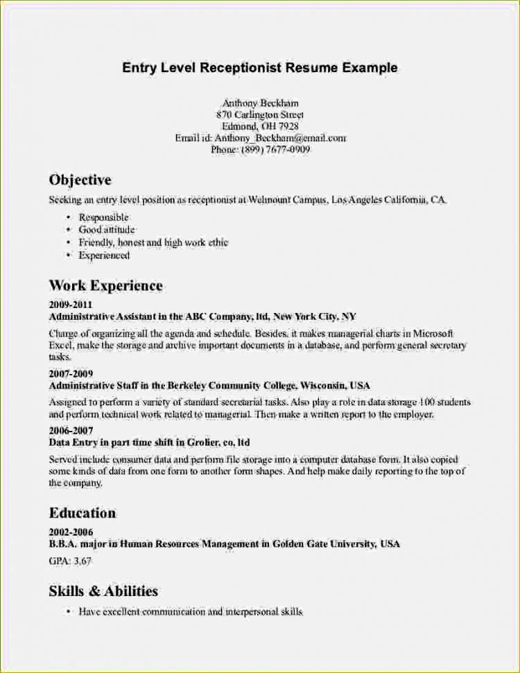 Entry Level High School Resume Template