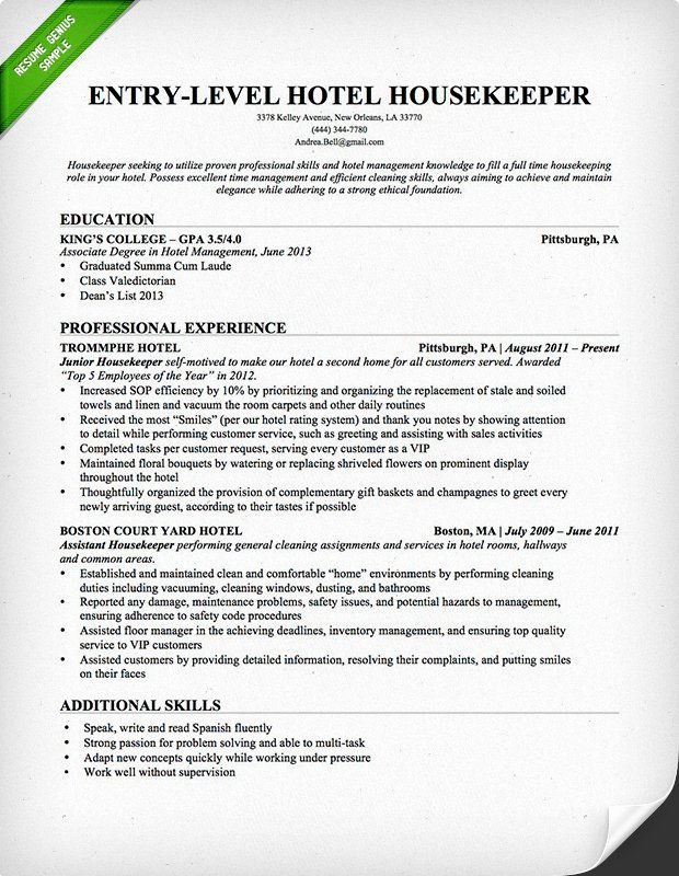 Entry Level Hotel Housekeeper Resume Sample