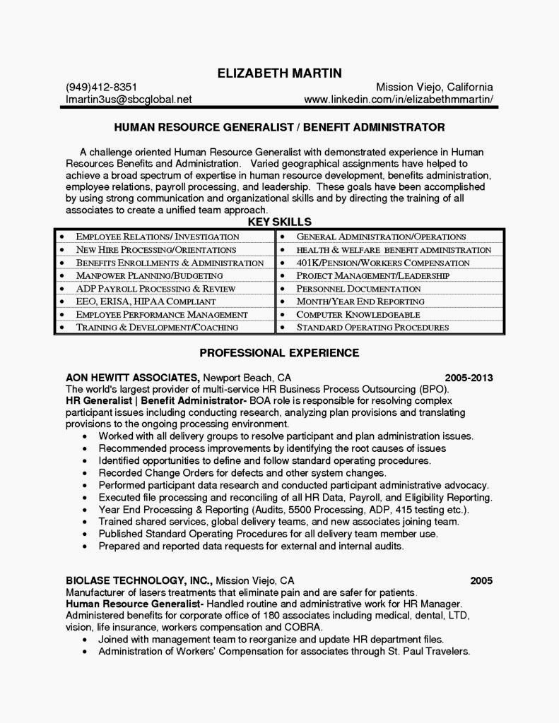 Entry Level Hr Generalist Resume